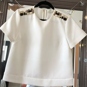 Kate Spade Jewels Oversized Cropped White Blouse